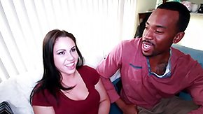 Monster Cock, Big Black Cock, Big Cock, Blowjob, Brunette, Interracial