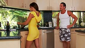 Rachel Starr, Babe, Blowjob, Brunette, Dress, Kitchen