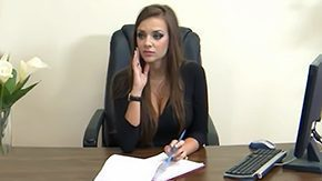 HD Nika Noir tube Nika really wants to keep her job flirty long hair office sex brunette tall grey eyes considerable boobs tits stockings black G-string heels desk lick spread legs