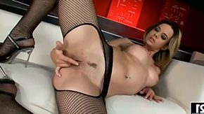 HD Chloe Delaure tube Infant blonde Chloe Delaure with tight jugs butt amid fishnet hose fingers her twat while teasing goes into stuffing it with thick latex