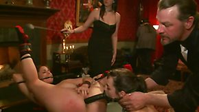 Pooping, Ass, BDSM, Brunette, Chained, Group