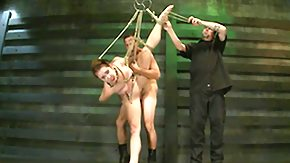 Nipple Clamp, BDSM, Blowjob, Bound, Brunette, Doggystyle