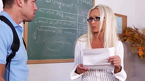 Mature Glasses, Aunt, Bend Over, Blonde, Classroom, Coed