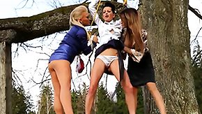 Lesbian Dresses, 3some, Blonde, Brunette, Clothed, European