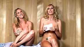 Sauna, Amateur, Big Tits, Blonde, Boobs, Lesbian