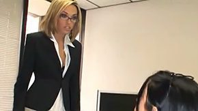 Business 2 males 1 female sex FFM office secretary group kilt blonde brunette mini skirt stockings at work disrobe lick oralfucking desk anal