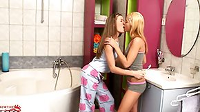 Free Candy Kiss HD porn Little teenies adore candy and also sharing some hot lesbian kisses amidst the bathroom