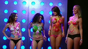 Topless, Blonde, Body Painting, Brunette, Nude, Party